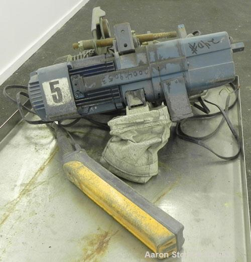 Used-Demag 1/2 Ton Hoist, Type K5-500-K-V1F4, Chain 5 x 15. .85 KW, 3/50/415 Volt, 2770/665 RPM. Includes button controls.