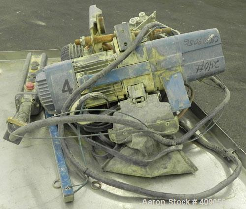 Used-Demag 1/2 Ton Hoist, Chain 5 x 15. .85 KW, 3/50/415 Volt, 2770/665 RPM. Includes button controls.