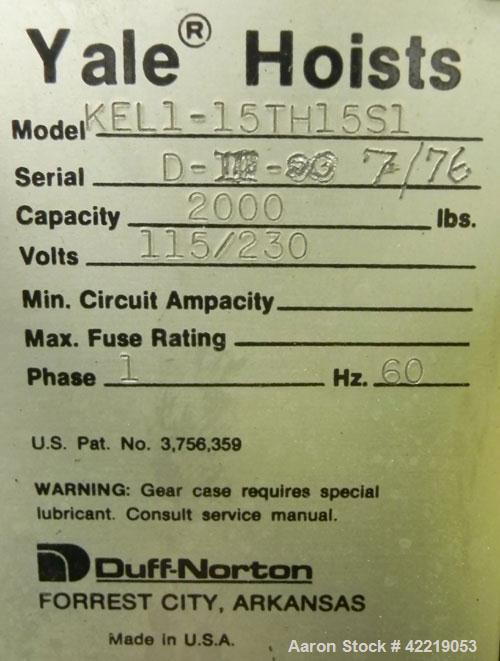 Used- Yale 1 Ton Hoist, model KEL1-15TH15S1. Driven by an approximate 1 hp motor.
