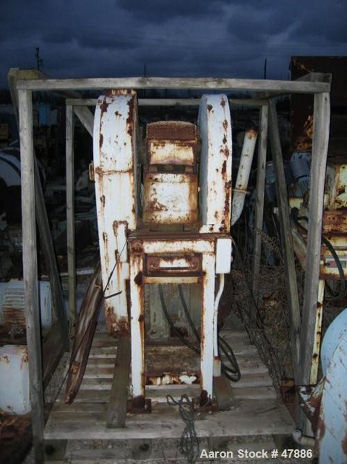 Used- Bacon 6 x 3 Jaw Crusher, Carbon Steel. Approximate  5 hp drive. Mounted on a stand.