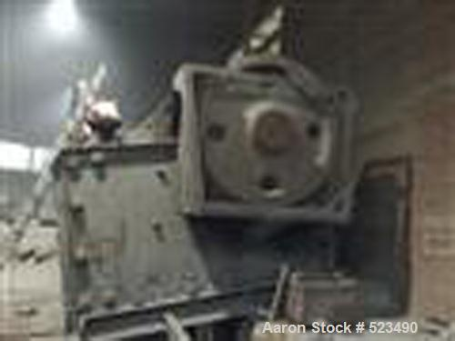 """USED: Morgadshammer jaw crusher, type AR 180. Material of construction is carbon steel. Input size 70.2"""" x 54.6"""" (1800mm x 1..."""