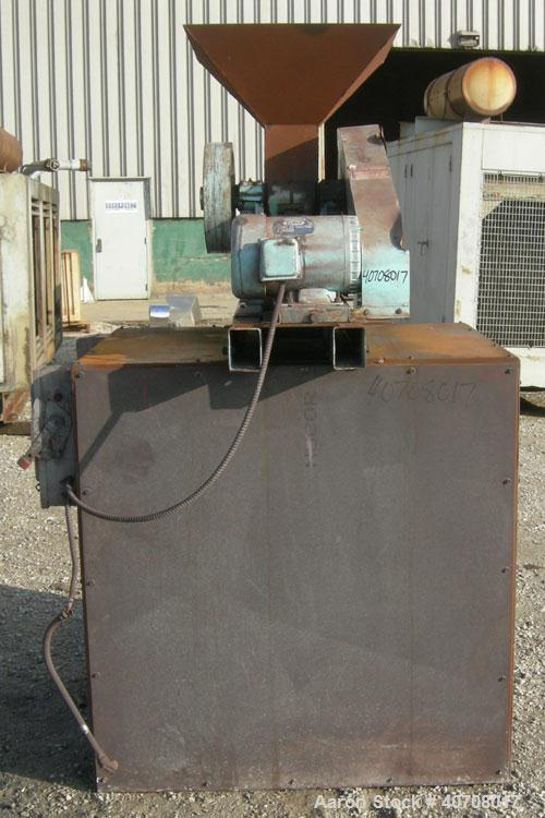 Used- Morse Brothers Machinery 4 x 6 jaw crusher, carbon steel. Top feed hopper. Approximate capacity range of 400-900 pound...