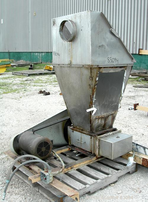 """USED: Prater Double Roll Crusher, model 1FA, 304 stainless steel. (2) 3"""" diameter x 15"""" long shafts with replaceable lugs, h..."""