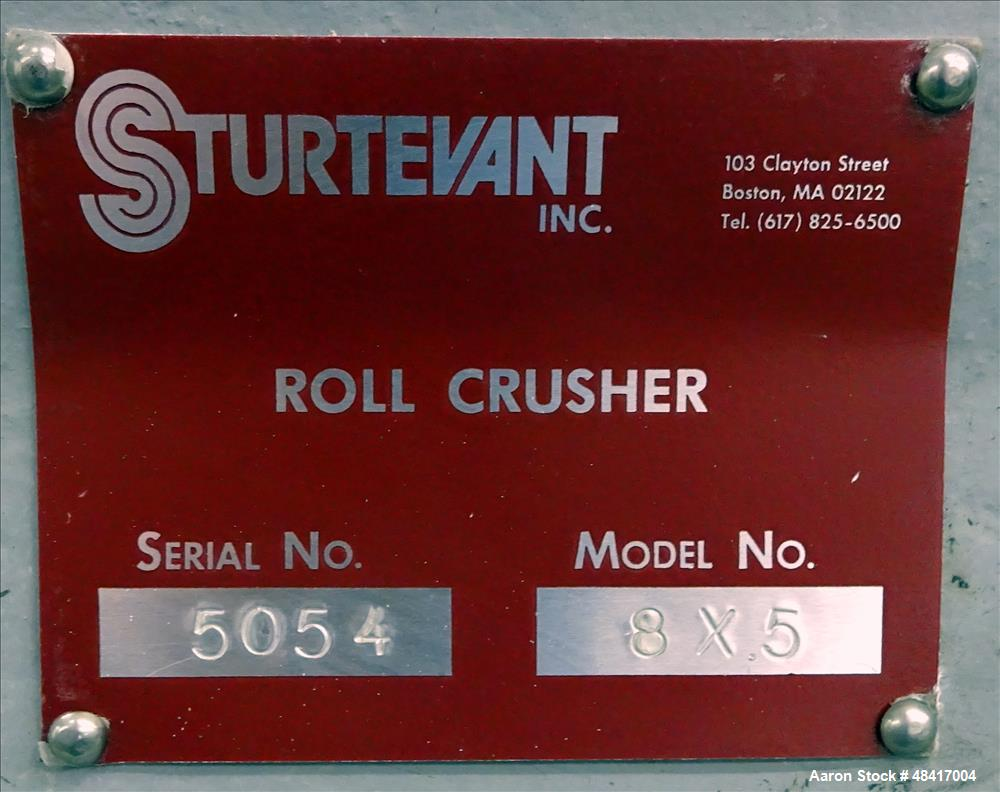 Used- Sturtevant Roll Crusher, Model 8 X 5, Carbon Steel.