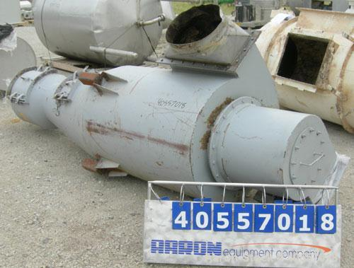 "Used- Cyclone, carbon steel. Approximately 36"" diameter x 46"" straight side x 43"" coned bottom. Openings: side 16"", 16 1/2"" ..."