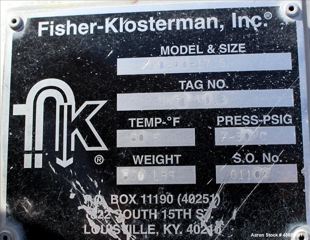 Used- Fisher-Klosterman Cyclone Dust Collector, Model XQ240-17.5