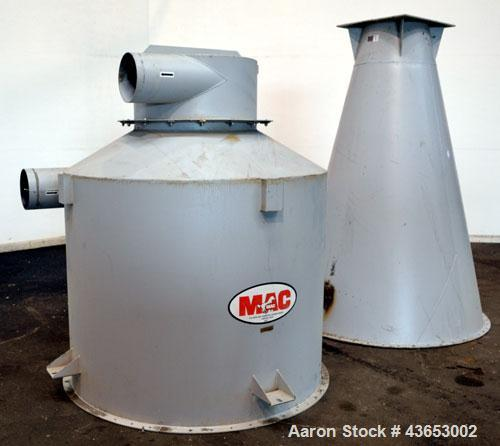 "Used- MAC Conical Top Cyclone, Model CT60, Carbon Steel.  CFM Range 2400-6000.  Bolt together housing approximately 60"" diam..."