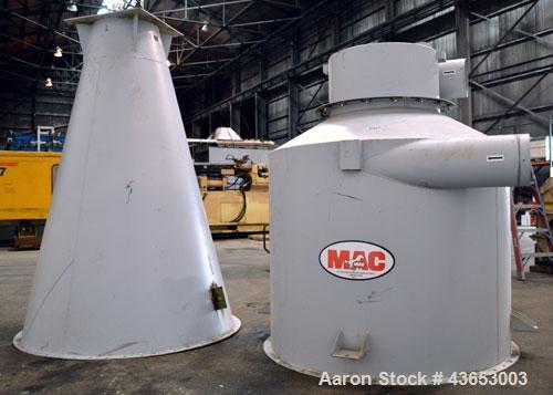 """Used- MAC Conical Top Cyclone, Model CT60, Carbon Steel.  CFM range 2400-6000.  Bolt together housing approximately 60"""" diam..."""