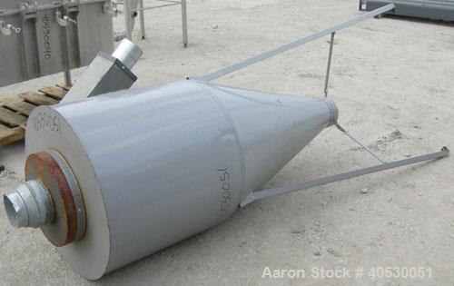 "Used- Cyclone, carbon steel. Approximately 32"" diameter x 29"" straight side x 46"" cone bottom. 5"" side inlet, 8"" top inlet, ..."