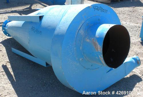 "Used- Cyclone, Carbon Steel. Approximately 42"" diameter x 33"" straight side x 67"" coned bottom. 5"" Air inlet, 9"" center bott..."