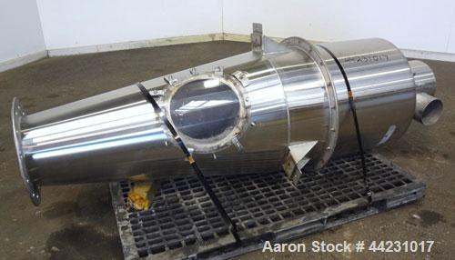 "Used- Cyclone Receiver, 316 Stainless Steel. Approximate 20"" diameter x 30"" striaght side x 44"" coned bottom. (2) 4"" side in..."
