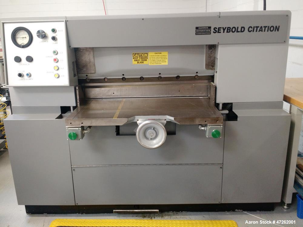 Used- Harris Seybold Series 60 Cutting Machine, Model CFB. Mfg. 1970. Reported to be reconditioned.