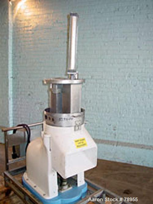 "Used- Hallde Cheese Grater. (2) 4-1/2"" x 4-1/2"" x 14"" deep stainless cheese block chutes with pivoting pneumatic piston push..."