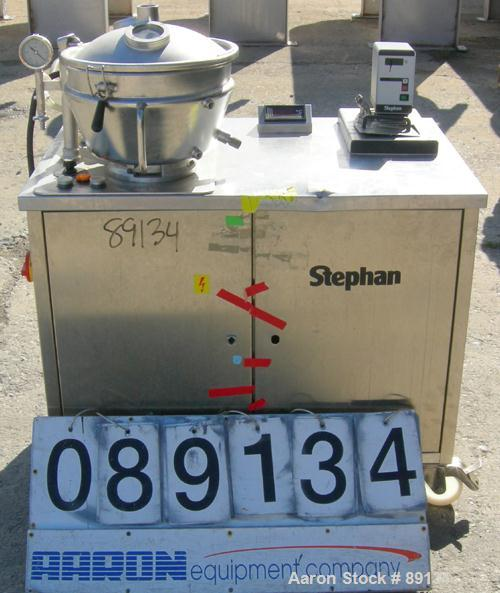 USED: Stephan vertical cutter-mixer, model UMC12-F/3, 304 stainless steel. (1) 12 liter jacketed mixing bowl approximately 1...