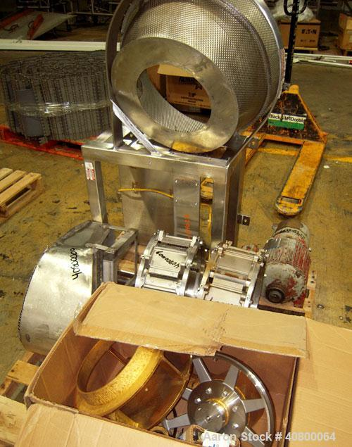 "Used- Urschel Slicer, Model CC, stainless steel. Approximately 14"" inside diameter cutting head with crinkle slicing head. D..."