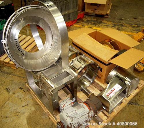 """Used- Urschel Slicer, Model CC, stainless steel. Approximately 14"""" inside diameter cutting head, with crinkle slicing head. ..."""