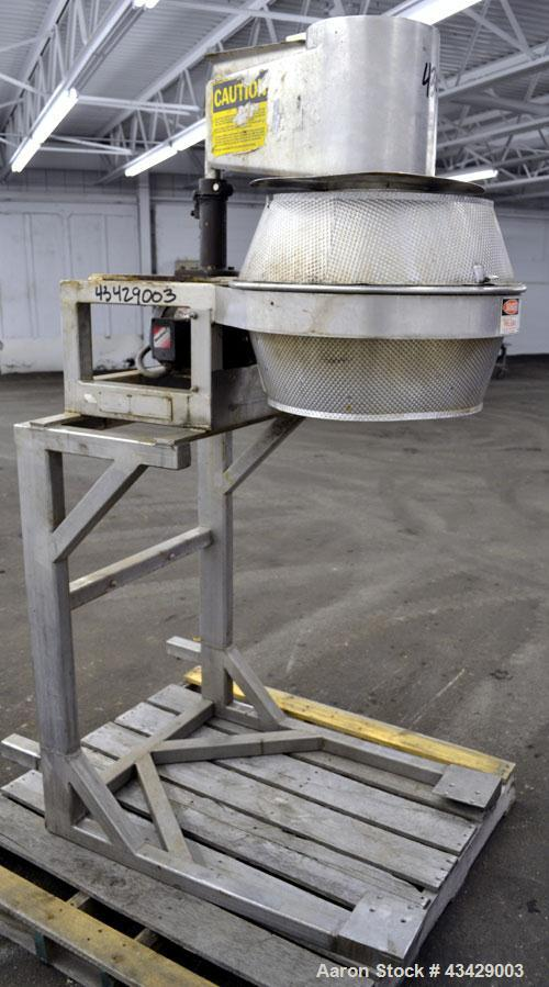 """Used- Urschel Slicer, Model CC, Stainless Steel. Maximum input product size 3-1/2"""". Unit consists of: Swing away feed hopper..."""