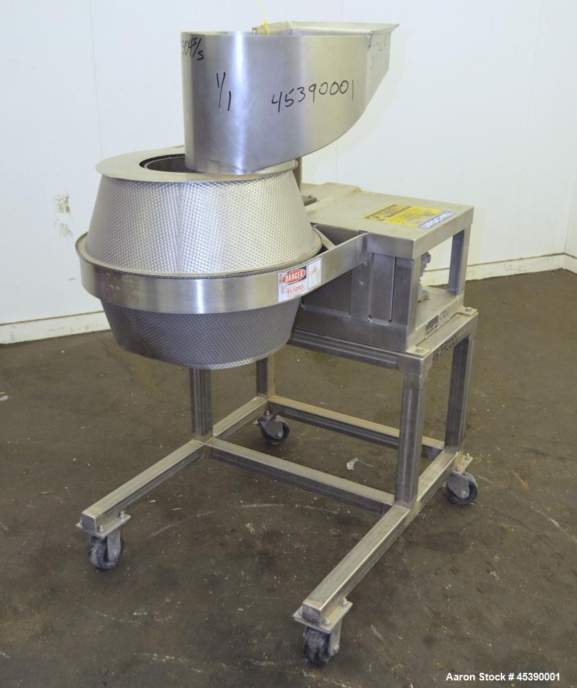 "Used- Urschel Slicer, Model CC, Stainless Steel. Maximum input product size 3-1/2"". Unit consists of (1) swing away feed hop..."