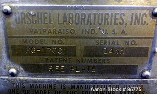 "Used- Urschel Comitrol Processor, Model MG1700, 15-5 PH Stainless Steel. Approximate 6"" diameter impeller, microcut cutting ..."