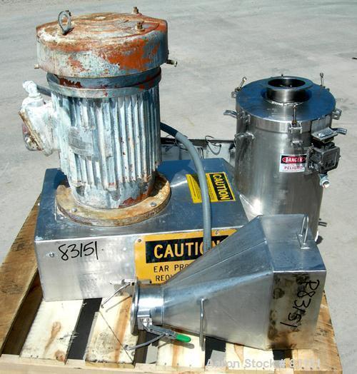 "Used- Urschel Comitrol Processor, Model MG, 304 stainless steel. Approximately 6"" diameter x 3"" deep cutting head. 3 blade i..."