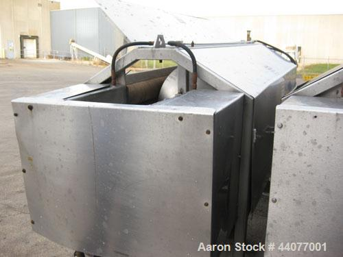 Used- Peeler/Washer, 304 Stainless Steel. (6) Approximately 5'' diameter x 69'' long nylon brush rollers. Driven by a 3 hp, ...