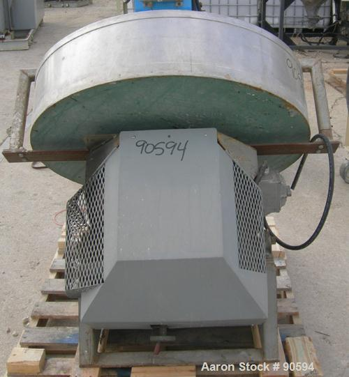 """Used- Custom Granulation Pan, 304 Stainless Steel. 36"""" diameter x approximately 8"""" deep. Driven by a 1/2 HP, 1/60/115/208-23..."""