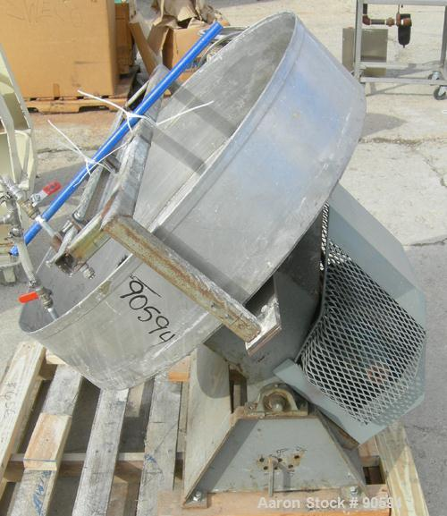 "Used- Custom Granulation Pan, 304 Stainless Steel. 36"" diameter x approximately 8"" deep. Driven by a 1/2 HP, 1/60/115/208-23..."
