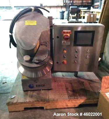 Used- Eirich Intensive Mixer, Model RV02E. Stainless Steel Construction. 8-10 Liter Capacity. 235 mm inclined rotating pan. ...