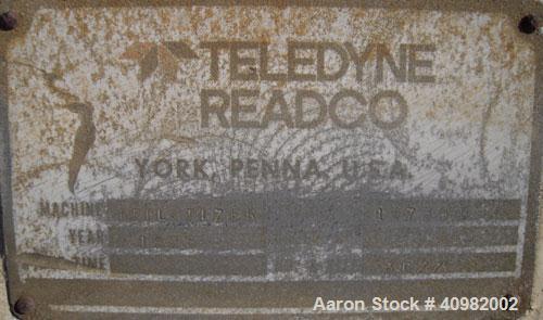 """Used- Teledyne Readco Disc Pelletizer. 36"""" diameter x 8"""" deep, 304 stainless steel pan. (3) adjustable plow arms, manual rat..."""