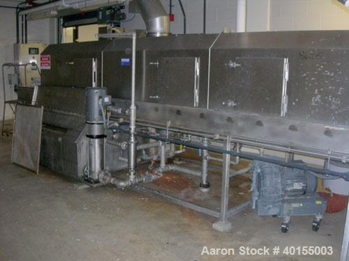 """Used:  Ecolab continuous pan washer, model CD-906PW, stainless steel. Approx 51"""" wide x 15' long wash/dry area, 40"""" long inf..."""