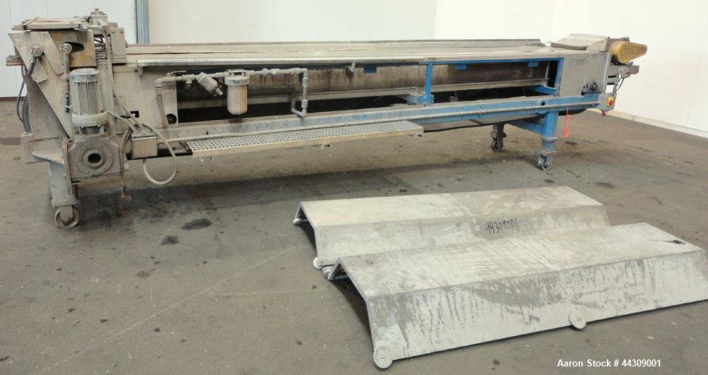 """Used- Spray Belt Cooler, 301 Stainless Steel. 19-1/2"""" Wide x 204"""" long belt. Driven by a 2 hp, 3/60/208-230/460 volt, 1725 r..."""