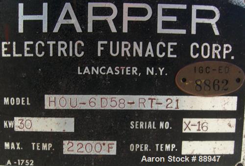 "USED: Harper rotary tube furnace, model HOU-6D58-RT-21. 6"" diameter x 100"" long tube. Approximately 6' long, 3 zones, indire..."