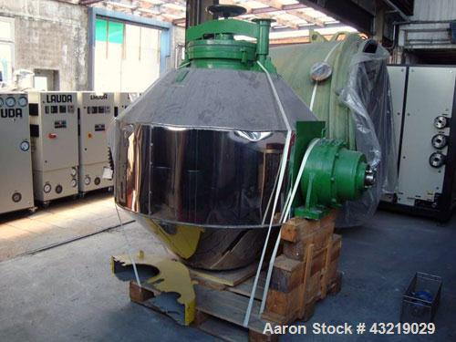 Used- Technoglas S.P.A Glass Lined Double Cone Dryer, 264.6 Gallon (1000 Liter). No vacuum system and saddles.