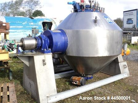 Used- Dedietrich Glass Lined Double Cone Vacuum Dryer,  Type SR2500