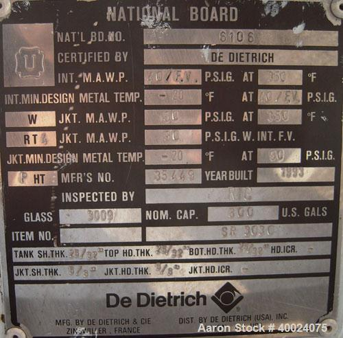 Used- De Dietrich Glass Lined Double Cone Dryer, Model SR3030