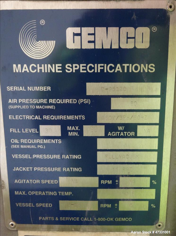 Used- Gemco Double Cone Vacuum Dryer, Model Vacuum Dryer, Approximate 30 Cubic F