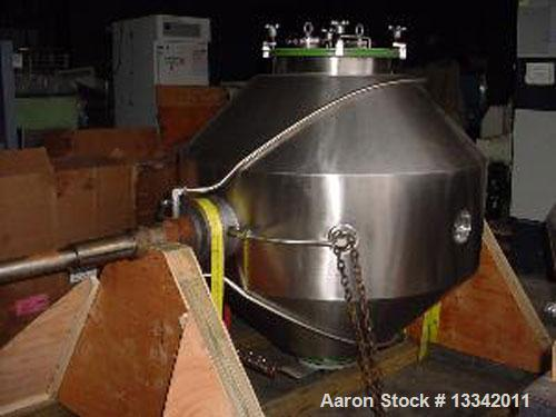 "Used-Gemco Dryer Double Cone, 20 Cubic Feet, Stainless Steel with Teflon Lining, Vacuum.  48"" Diameter, 18"" tmw with (2) 4"" ..."