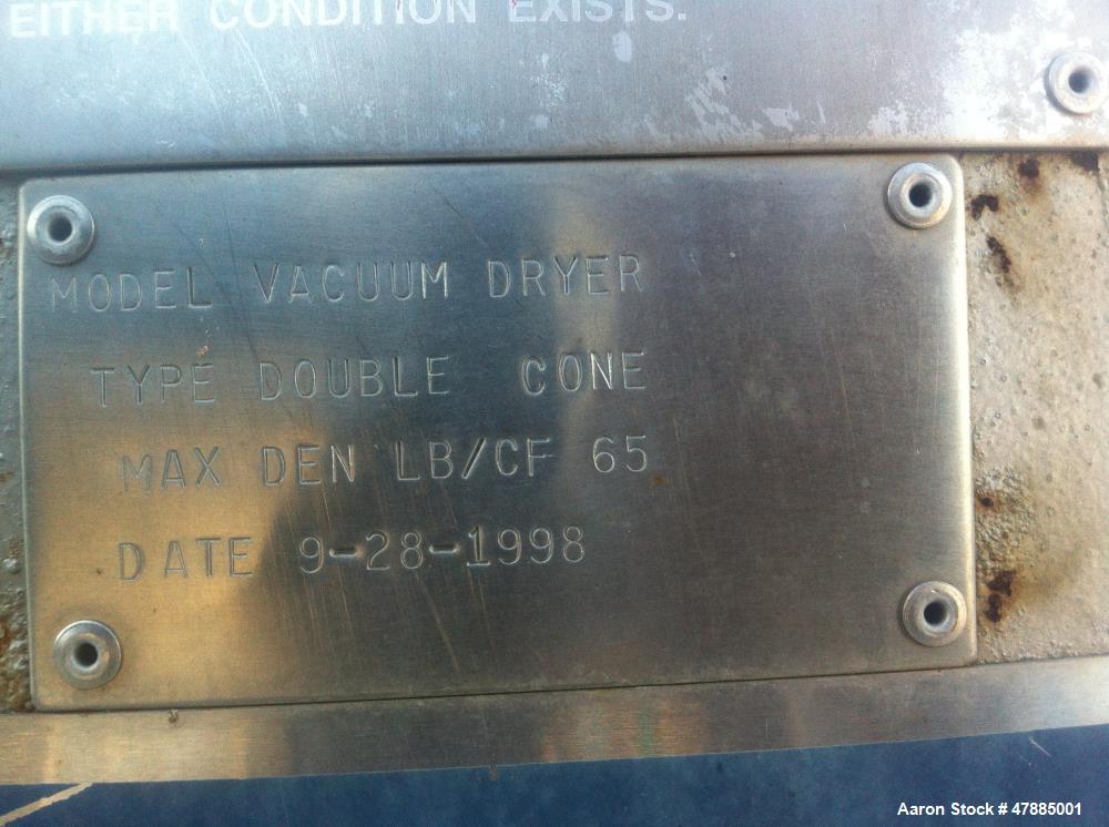 Used- Gemco Double Cone Vacuum Dryer, Model Vacuum Dryer.
