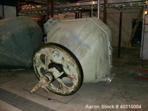 Used-Patterson Double Cone Dryer, Model 1410. Size 70 cubic feet; design pressure 25 psig (jacket side); design temperature ...