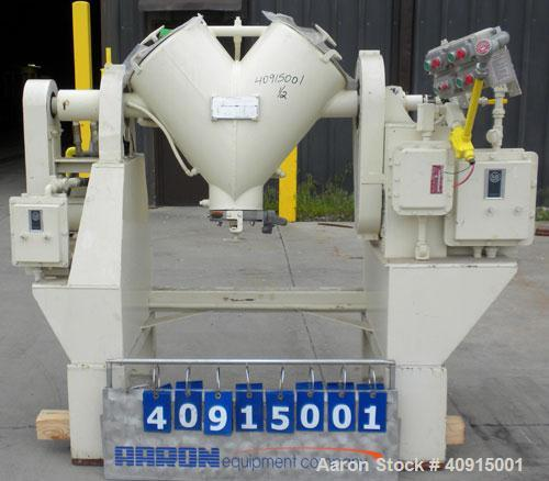 Used- Patterson Kelley Twin Shell Solids Processor, 2 cubic feet, 304 stainless steel. Maximum material density 100 pounds p...
