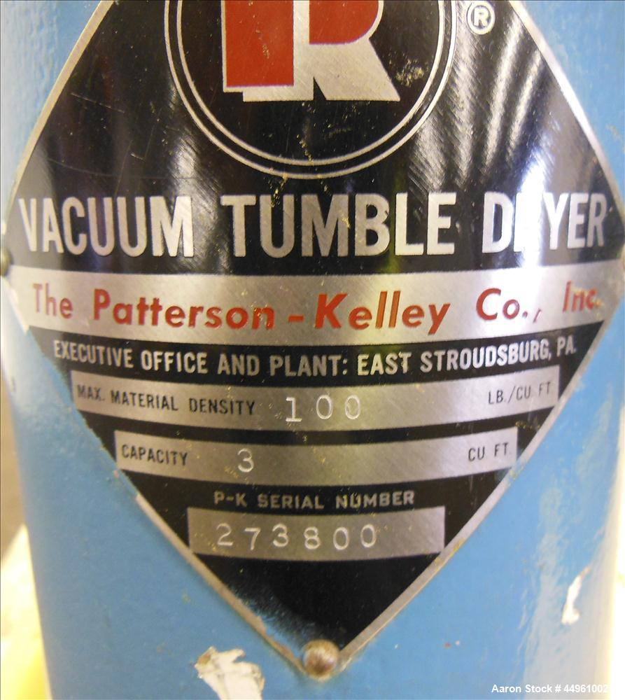 Used- Patterson-Kelley Double Cone Vacuum Tumble Dryer, 3 Cubic Feet, 304 Stainless Steel. Maximum material density 100 poun...