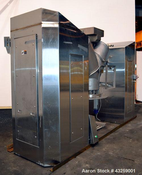 Used- Patterson-Kelley Twin Shell Vacuum Tumble Dryer, 10 Cubic Feet, 316L Stainless Steel. Internal rated for full vacuum, ...