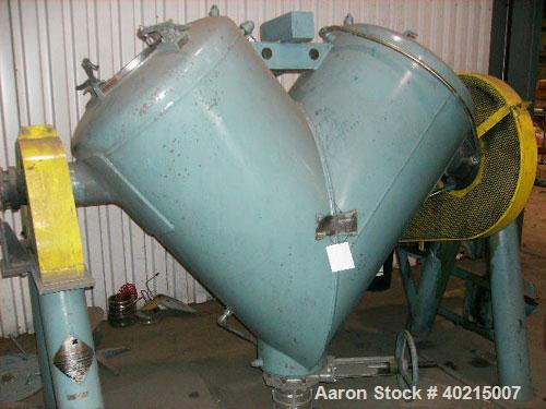 Used-Patterson Kelley Vee Cone Dryer. Size 20 cubic feet; blender side full vacuum; jacket side 30 psig; temperature 250 deg...