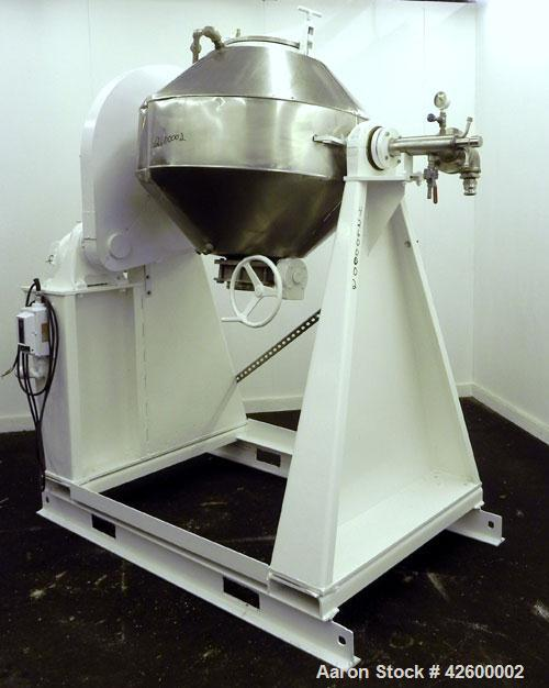 Used- Patterson Industries Double Cone Vacuum Dryer. 8.7 Cubic feet working capacity, 12.4 total, Hastelloy C276. Rated 60 p...