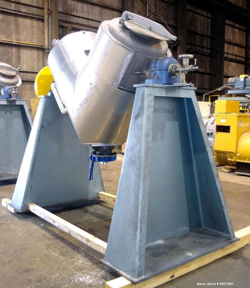 Used- Patterson Industries Twin Shell Vacuum Dryer, 20 Cubic Feet, 304 Stainless Steel. Internal rated 2psig & Full Vacuum a...
