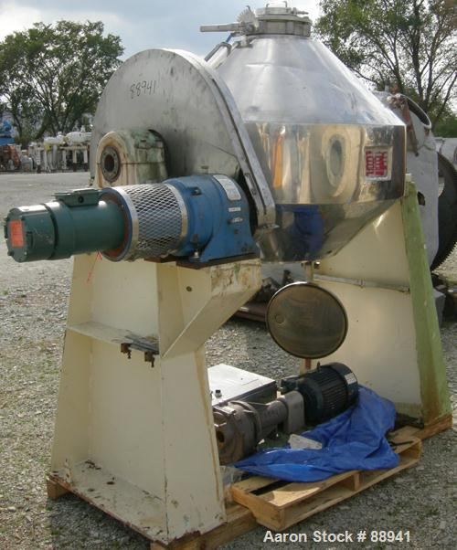 Used- Patterson Pump Company Double Cone Vacuum Dryer, approximately 13.72 cubic feet working capacity, 316 stainless steel....