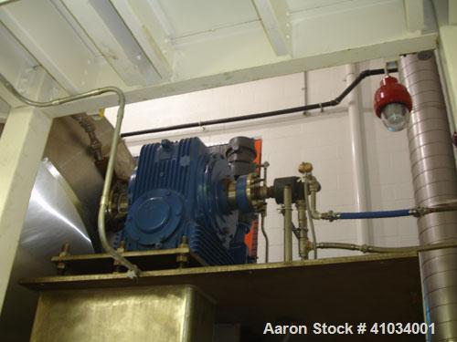 Used-Pfaudler Glass Lined Double Cone Dryer, 150 Cubic Feet, Model 96-45-CD-MS. Internal rated 30 psi/FV @ 450 deg F. Jacket...
