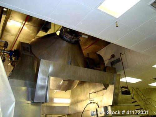 Used- Pfaudler/Balfour Glass Lined Double Cone Vacuum Dryer, 105 Cubic Feet Total Capacity (3,000 liter), 9115 Glass. Intern...