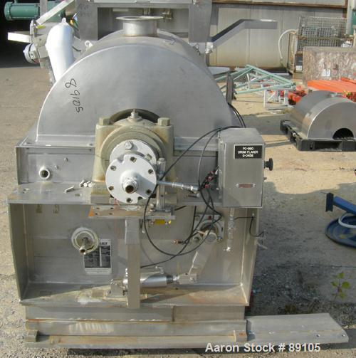 "Used- Blaw Knox Single Drum Flaker, 316 stainless steel. 24"" diameter x 24"" face cored drum rated 60 psi at 350 deg F. Drive..."