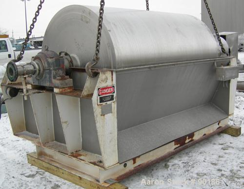 "Used- Buflovak Single Drum Flaker, 316 stainless steel. 60"" diameter x 96"" face cored drum that has 0.68"" thick wall  rated ..."
